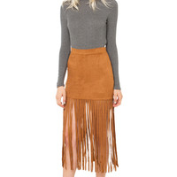 New Breed Suede Skirt - Camel