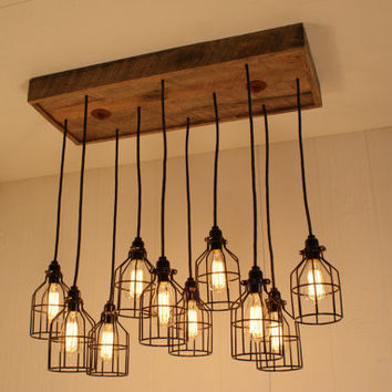 Cage Light Chandelier - Cage Lighting - Industrial Lighting - Edison Bulbs - Upcycled Wood