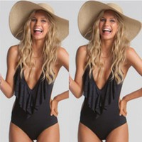 Ruffles Black One Piece Swimsuit Women Halter Hollow Out Bathing Suit Bodysuit Bra Padded Swimwear Women Beach Wear