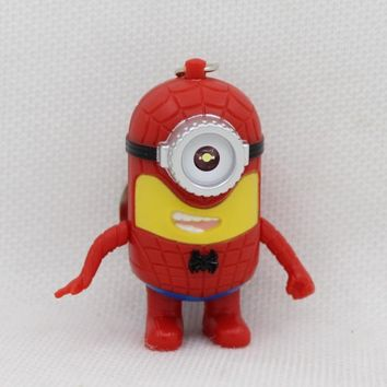The avengers alliance LED Minion flashlight keychain, hot movie Keychains with sound, COS spider-man minion Keyring for lovers