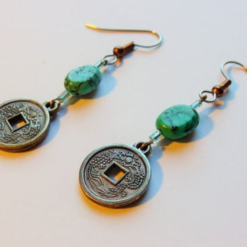 Turquoise Japanese Penny Earrings, Blue Beaded Dangle Earrings, Asian Inspired Jewelry, Kanji Characters, Chinese Coin Jewelry