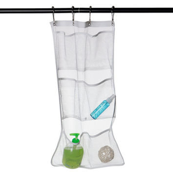 Home Use 6 Pocket Bathroom Tub Shower Hanging Mesh Organizer White Caddy Storage Bag Save Space Free Shipping