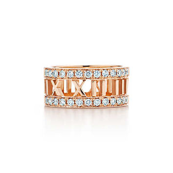 Tiffany & Co. - Atlas® open ring in 18k rose gold with diamonds.
