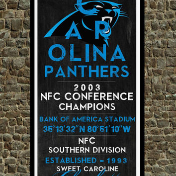 Carolina Panthers - Eye Chart chalkboard print - sports, football, gift for fathers day, subway sign - Eyechart wall art