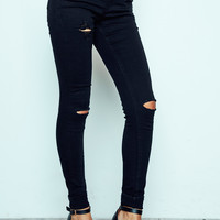 BLACK VIENNA HIGH WAIST KNEE SLIT SKINNY JEAN - STYLE STEALS ITEM