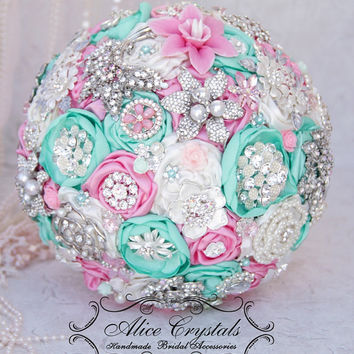 Brooch bouquet. Ivory and ,mint, peppermint and pink wedding brooch bouquet, Jeweled mint Bouquet.