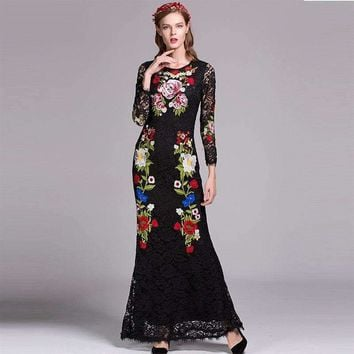 2018 Newest Spring Floor Length Dress Fashion Designer Full Sleeve Floral Embroidery Slim Black Maxi Long Lace Dress