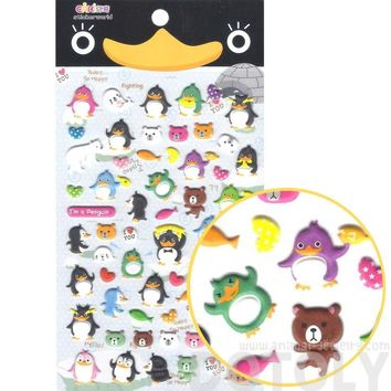 Penguin and Teddy Bear Shaped Funny Cartoon Animal Puffy Stickers for Scrapbooking