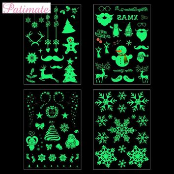 PATIMATE Luminous Temporary Tattoo Stickers Christmas Merry Christmas Ornament Christmas Tree Decor for Home New Year 2019