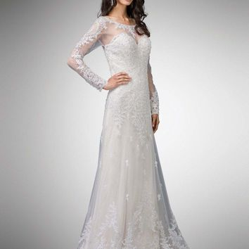 Dancing Queen Bridal - 9 Two Tone Beaded Lace Illusion Bateau A-line Gown