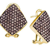 Cognac Diamond Ladies Fashion Earrings in 10k Gold 1.9 ctw