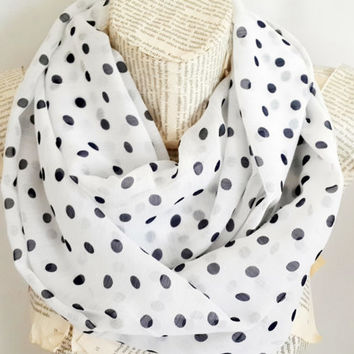 ON SALE, Polka Dots İnfinity Scarf Lightweight, White Dark Blue, Navy Blue Shawl, Tube Scarf, Shawl Circle Scarf Loop Scarf Gift