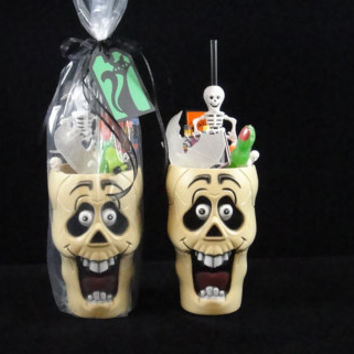 Personalized Filled Skull Halloween Treat Cups, Halloween Parties, Kids Parties, Halloween Favors, College Care Packages - Qty 1