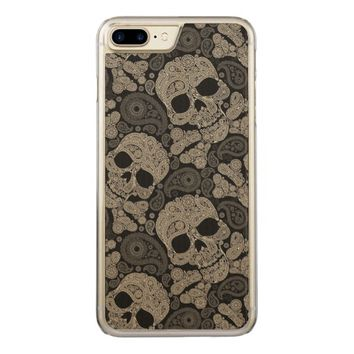 Sugar Skull Crossbones Pattern Carved iPhone 8 Plus/7 Plus Case