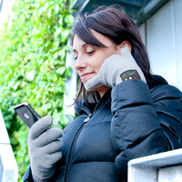 Bluetooth Handset Gloves - Leather Medium