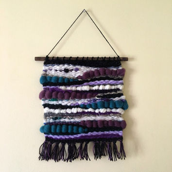 Handwoven Wall Art / Woven Wall Hanging Tapestry / Fiber Art / Purple, Teal, Ivory, Gold, Silver, Lavender, Black