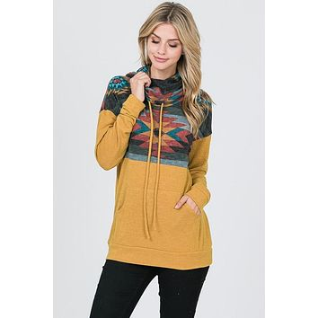 Aztec Cowl Neck Top - Mustard