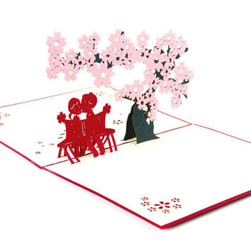3D Pop Up Cherry Tree Greeting Cards