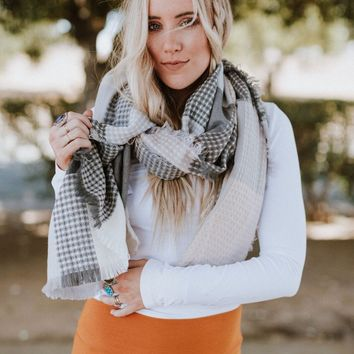 Paired Plaid Blanket Scarf - Blush
