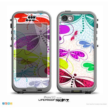 The Vibrant Neon Vector Butterflies on White Skin for the iPhone 5c nüüd LifeProof Case