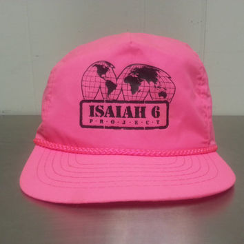 Vintage 80's Neon Pink Nylon Isaiah 6 Project Snapback Dad Hat Hipster Style Retro