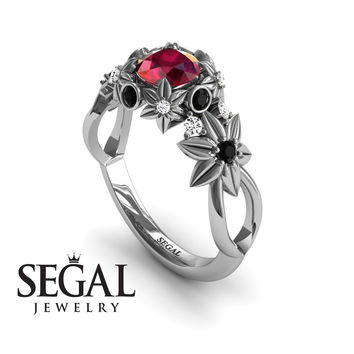 Unique Engagement Ring 14K White Gold Flowers And Branches Art Deco Edwardian Ring Ruby With Black Diamond - Katherine