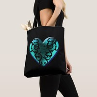 Filigree Goth Ice Blue Heart Tote Bag