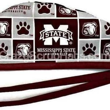 Men's Unlined Surgical Scrub Hat Cap in Mississippi Bulldogs Squares