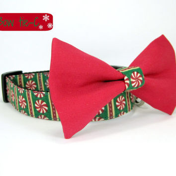 Christmas  Dog Collar -Peppermint Dog Collar with bow tie set  (Mini,X-Small,Small,Medium ,Large or X-Large Size)- Adjustable