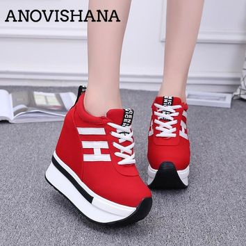 ANOVISHANA women sport casual shoes woman super platform high top thick soled elevator canvas loafers zapatos mujer 2018 B494h