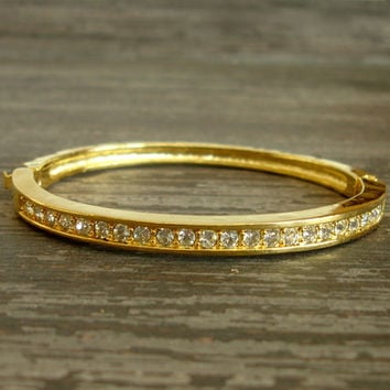 Vintage Rhinestone Bracelet, Hinged Bangle Bracelet, Gold Tone, Rhinestone Crystals, Stackable Bracelet, Oval Shape, Estate Costume Jewelry