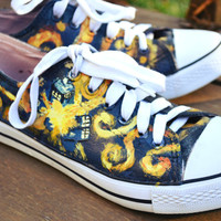 Handpainted Doctor Who Vincent Van Gogh Tardis Shoes Vincent and The Doctor Converse Keds and Vans