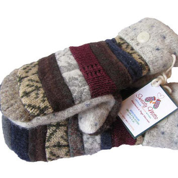 SWEATY MITTS Designer Patchwork Mittens Upcycled Wool Women's Recycled Sweaters Handmade in Wisconsin White Navy Gray Earthy Blue Stripes