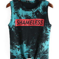 Letters Print Knotted Tie-dye Tank Top -SheIn(Sheinside)