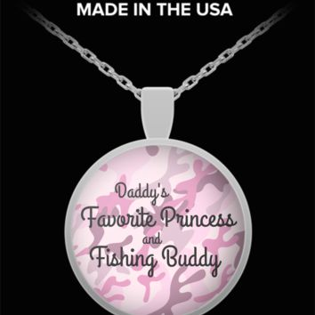 Daddy's Favorite Princess and Fishing Buddy ~ Pink Camo ~ Round Pendant