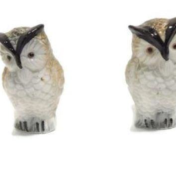 VINTAGE Set of Glass OWL Salt and Pepper Shakers White Black Brown Gray