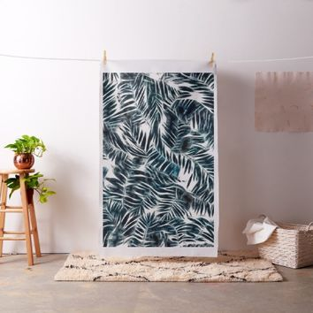 Energetic dark green palm leafs pattern fabric