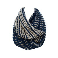 ACCESSORIESFOREVER Women Winter Cold Duo Tone Soft Knit Loop Infinity Cold Weather Fashion Scarf Blue