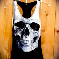 summer skeleton quirky grunge racer back silk tank top