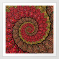 Red and Orange Hippie Fractal Pattern Art Print by Hippy Gift Shop