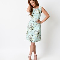 Retro Pin Up Style Mint Flamingo Print Sleeveless Stretch Flare Dress