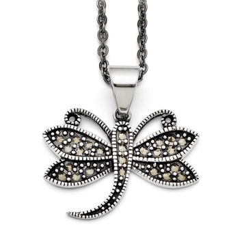 Marcasite Dragonfly Necklace in Antiqued Stainless Steel, 18 Inch
