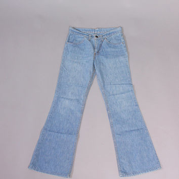 Vintage 70s LEVI'S JEANS / 1970s Orange Tab Light Wash Denim Bell Bottoms W 27