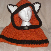 Crochet Hooded Fox Cowl, Hooded Fox Cowl, Knitted Cowl, Chunky Hooded Fox Cowl, Animal Crochet Hooded Cowl,