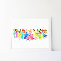 Disney Princess Collection watercolor Art disney Nursery princess printable Kids Bedroom Decor disney wall art Baby Room disney poster