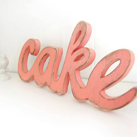 cake wedding signs wooden word decoration shabby chic Coral Melon