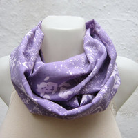infinity scarf Loop scarf Neckwarmer Necklace scarf  Flower Fabric scarf  Lilac