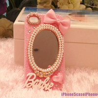 iphone case, iPhone 4 case, iPhone 4s case skin, Cute iPhone 4 case, glitter iphone 4 case, pink iphone 4 case Mirror, iphone 4 bow case