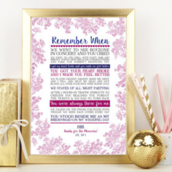 Beautiful Unique Personalised Memory Print, Remember When - Personalised Bridesmaid, Birthday, Unique Gift, Best Friend, Wedding Gift