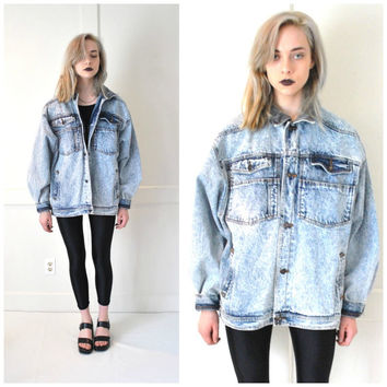acid wash DENIM jacket vintage 80s UNISEX oversized relaxed fit surfer grunge Jordache CORDUROY collar distressed jean jacket large os